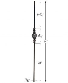 "HF16.8.4: Designer Series 5/8"" Hollow Round Iron Knuckle and Basket Baluster Dimensions"