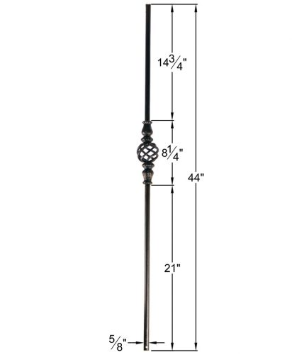 """HF16.8.4: Designer Series 5/8"""" Hollow Round Iron Knuckle and Basket Baluster Dimensions"""