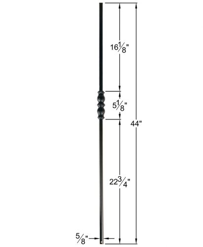 """HF16.8.5: Designer Series 5/8"""" Hollow Round Iron Knuckle Baluster Dimensions"""