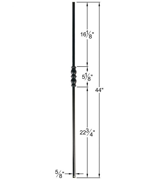 "HF16.8.5: Designer Series 5/8"" Hollow Round Iron Knuckle Baluster Dimensions"