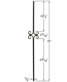 "HF16.8.8: Designer Series 5/8"" Hollow Square Iron Scroll Baluster Dimensions"