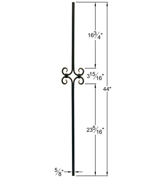 """HF16.8.8: Designer Series 5/8"""" Hollow Square Iron Scroll Baluster Dimensions"""