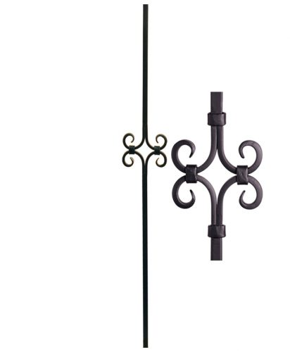 "HF16.8.8: Designer Series 5/8"" Hollow Square Iron Scroll Baluster"