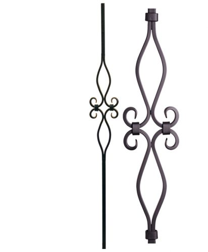 "HF16.8.9: Designer Series 5/8"" Hollow Square Iron Scroll Baluster"