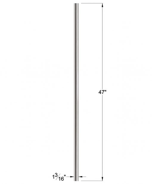 """HF17.1.2: Solid 1 3/16"""" Round 304 Grade Stainless Steel Newel Dimensions"""
