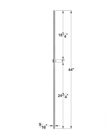 """HF17.11.21-T: Hollow 9/16"""" Round 304 Grade Stainless Steel Sphere Baluster Dimensions"""