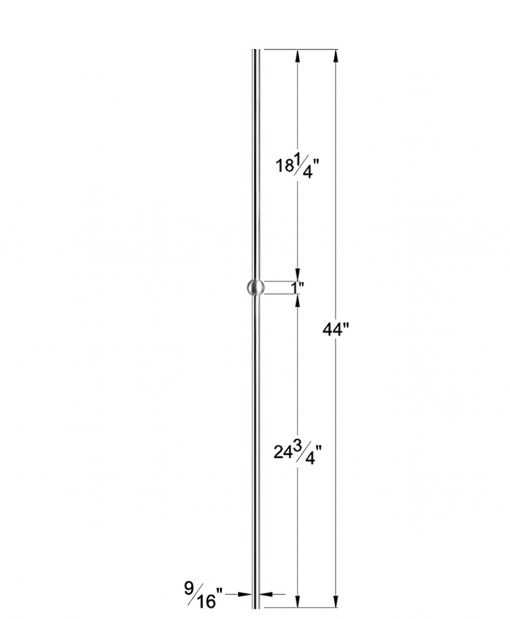 "HF17.11.21-T: Hollow 9/16"" Round 304 Grade Stainless Steel Sphere Baluster Dimensions"
