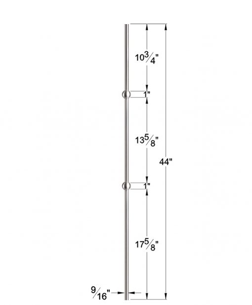"HF17.11.23-T: Hollow 9/16"" Round 304 Grade Stainless Steel Double Sphere Baluster Dimensions"