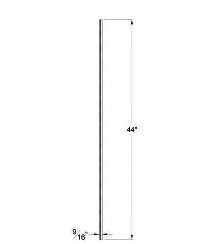 """HF17.11.5-T: Hollow 9/16"""" Round 304 Grade Stainless Steel Baluster Dimensions"""