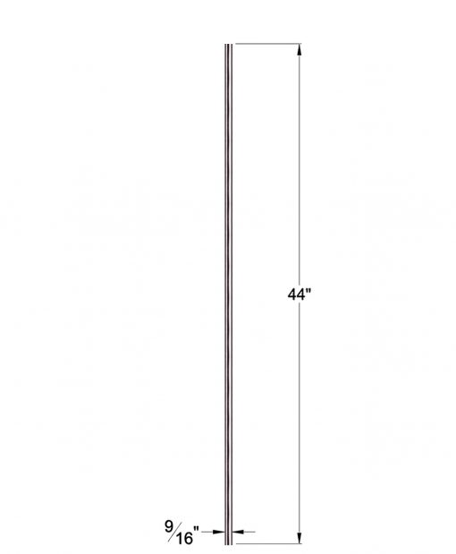 "HF17.11.5-T: Hollow 9/16"" Round 304 Grade Stainless Steel Baluster Dimensions"