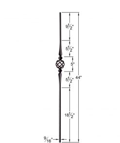"""HF2.11.16:  9/16"""" Solid Round Iron Double Flared Knuckle and Basket Baluster Dimensions"""