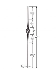 "HF2.11.16-T:  5/8"" Hollow Round Iron Double Flared Knuckle and Basket Baluster Dimensions"