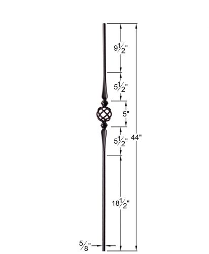 """HF2.11.16-T:  5/8"""" Hollow Round Iron Double Flared Knuckle and Basket Baluster Dimensions"""