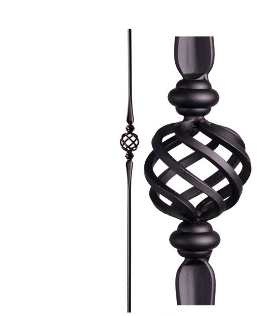 "HF2.11.16-T:  5/8"" Hollow Round Iron Double Flared Knuckle and Basket Baluster"