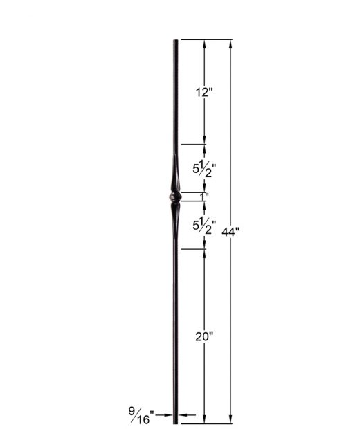 """HF2.11.3:  9/16"""" Solid Round Iron Flared Knuckle Baluster Dimensions"""