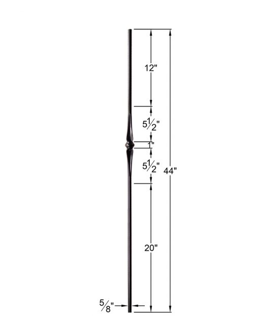 "HF2.11.3-T:  5/8"" Hollow Round Iron Flared Knuckle Baluster Dimensions"