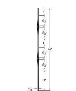 "HF2.11.4:  9/16"" Solid Round Iron Double Flared Knuckle Baluster Dimensions"