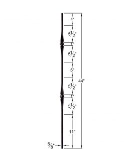"""HF2.11.4-T:  5/8"""" Hollow Round Iron Double Flared Knuckle and Basket Baluster Dimensions"""