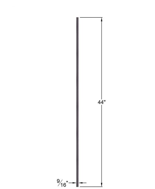 "HFORB2.8.18:  9/16"" Solid Round Iron  Baluster (Oil Rubbed Bronze) Dimensions"