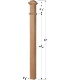 "HF4592-PLAIN: 3 1/2"" Solid Box Newel Post Dimensions"