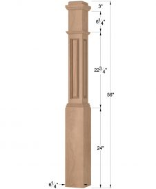 "HF4791: 6 1/4"" Hollow Raised Panel Box Newel Post Dimensions"