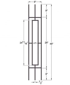"HF9.4.11: Aalto 1/2"" Hollow Square Rectangle Panel Baluster for Rake Angle  Dimensions"