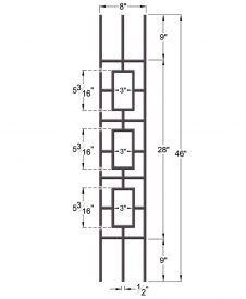 "HF9.4.33: Aalto 1/2"" Hollow Square Triple Rectangle Panel Baluster for Rake Angle  Dimensions"