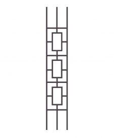 """HF9.4.33: Aalto 1/2"""" Hollow Square Triple Rectangle Panel Baluster for Rake Angle"""