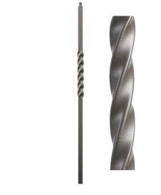 "HFAG16.5.4-T: Twist Series 1 3/16"" Hollow Square Iron Twist Newel (Ash Grey)"