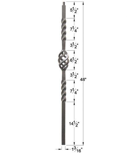 "HFAG16.5.5-T: Twist Series 1 3/16"" Hollow Square Iron Twist and Basket Newel (Ash Grey) Dimensions"