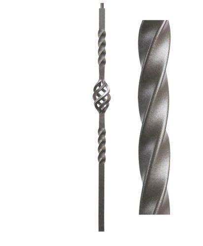 "HFAG16.5.5-T: Twist Series 1 3/16"" Hollow Square Iron Twist and Basket Newel (Ash Grey)"