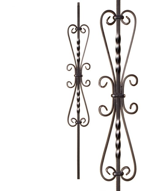 "HFSTB16.1.41: Twist Series 1/2"" Solid Square Iron Twist and Scroll Baluster (Satin Black)"