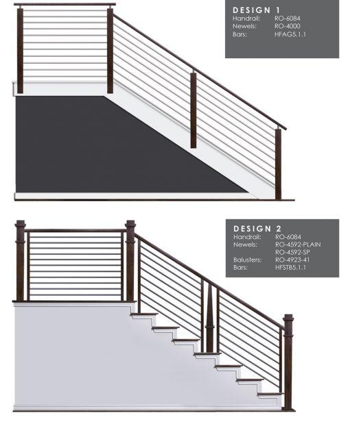 "HF5.1.1: 5/8"" Hollow Round 12 Gauge Horizontal Railing Design 1"