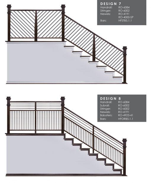 "HF5.1.1: 5/8"" Hollow Round 12 Gauge Horizontal Railing Design 4"