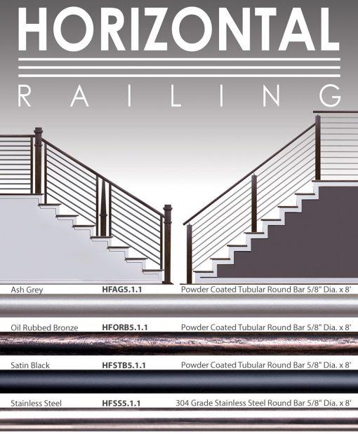 "HF5.1.1: 5/8"" Hollow Round 12 Gauge Horizontal Railing"