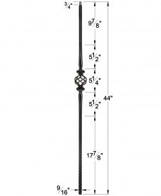 """LI-16044: 9/16"""" Solid Square Iron Hammered Face Double Knuckle and Basket Baluster Dimensions"""