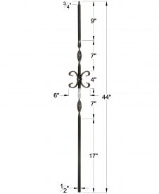 """LI-19044: 1/2"""" Solid Square Iron Double Ribbon Twist and Butterfly Scroll Baluster Dimensions"""