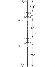 "LI-20044: 1/2"" Solid Square Iron Ribbon Twist and Double Butterfly Scroll Baluster Dimensions"
