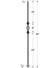 """LI-2KNUC1BASK44: 1/2"""" Solid Square Iron Double Knuckle and Basket Baluster Dimensions"""