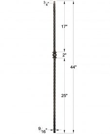 "LI-30544: 9/16"" Solid Square Iron Hammered Edge Knuckle Baluster Dimensions"