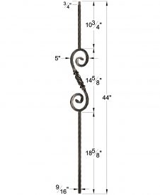 "LI-33044: 9/16"" Solid Square Iron Hammered Edge Beehive Knuckle Scroll Baluster Dimensions"