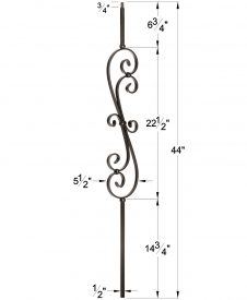 "LI-60144: 1/2"" Solid Square Iron Scroll Baluster Dimensions"