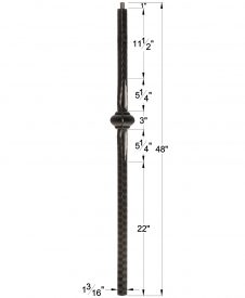 "LI-NWL14048: 1 3/16"" Solid Square Iron Knuckle Baluster Dimensions"