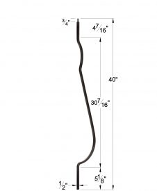 """LI-PLA40BLY: 1/2"""" Solid Square Iron Belly Baluster Dimensions"""
