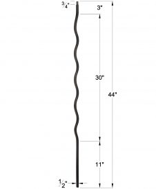 """LI-WAVE44: 1/2"""" Solid Square Iron Wave Baluster Dimensions"""