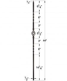 "LIH-HOL1BASK44: 1/2"" Hollow Square Iron Double Twist and Basket Baluster Dimensions"