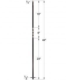 """LIH-HOL1TW44: 1/2"""" Hollow Square Iron Twist Baluster Dimensions"""