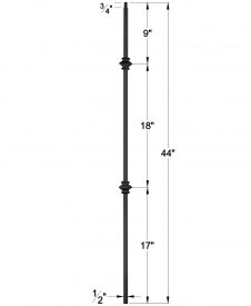 "LIH-HOL2KNUC44: 1/2"" Hollow Square Iron Double Knuckle Baluster Dimensions"