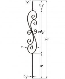 """LIH-HOL30144: 1/2"""" Hollow Square Iron Scroll Baluster Dimensions"""