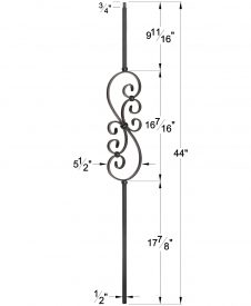 "LIH-HOL50144: 1/2"" Hollow Square Iron Scroll Baluster Dimensions"